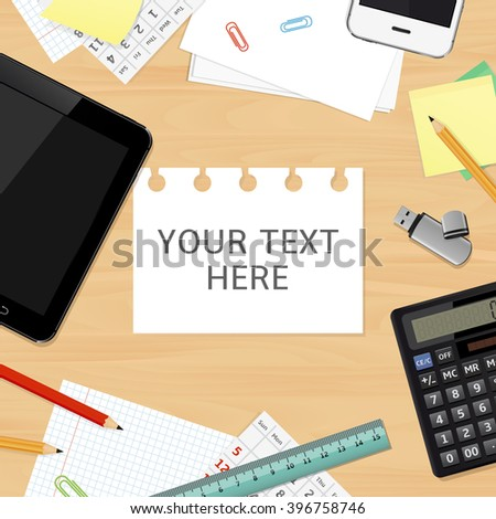 Blank office desk background. Top view.  - stock photo