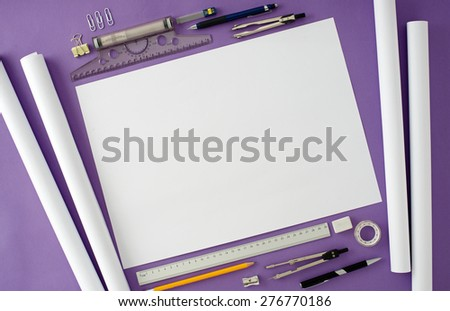 Blank office desk background with copy space for your text. Top view. Business and office supplies. - stock photo