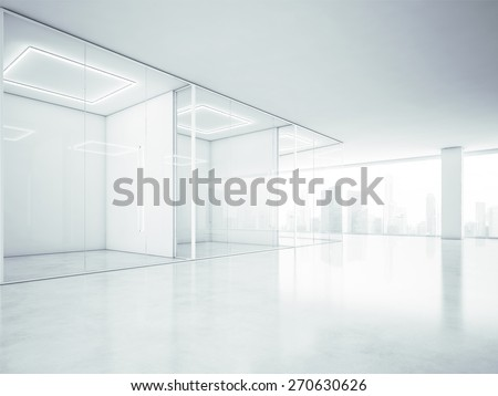 Blank office interior with big windows. 3D rendering - stock photo
