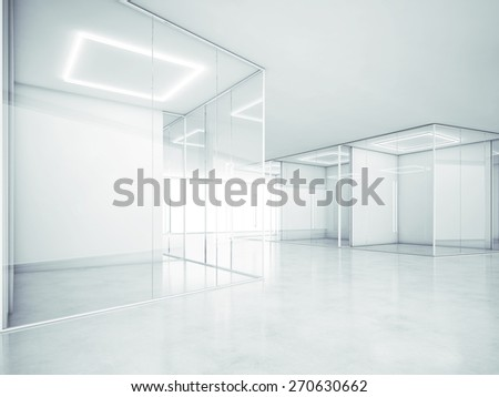 Blank office space. 3D rendering - stock photo
