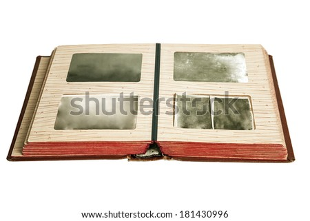 Blank old photos in album, isolated on white - stock photo