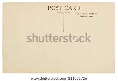 Blank Old Postcard Back Isolated on White - stock photo