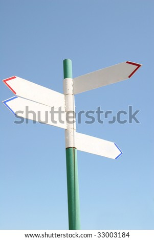 Blank old sign post (with empty space for your text) - stock photo