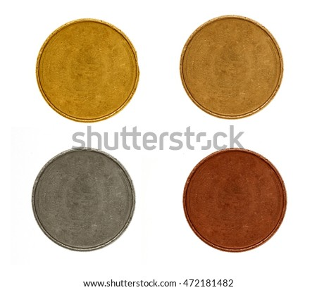 blank old silver, gold, copper, bronze coins isolated on white