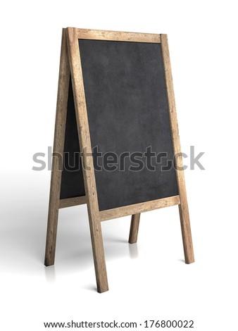 Blank old tripod blackboard - stock photo