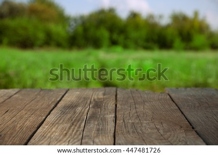 Blank old wooden table in the summer garden on a sunny day (focus on the board) - stock photo