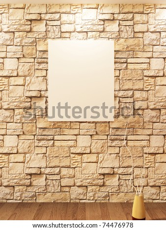 Blank on brick stone wall and Decorative vase on a parquet. Banner - stock photo