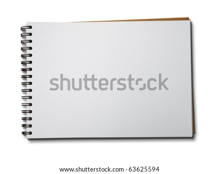 Blank one face white paper notebook horizontal - stock photo