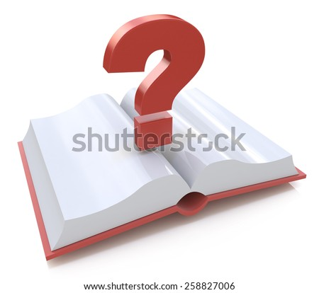 Blank open book and a question mark. 3d render illustration  - stock photo