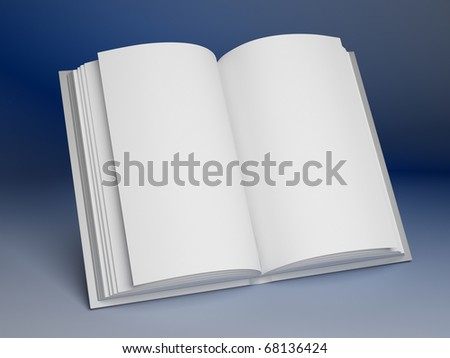 Blank open book on blue background - stock photo