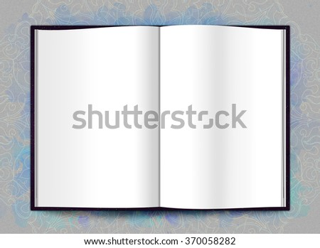 Blank open book or Brochure magazine isolated on grey to place your design, mock up, top view with ornate background  - stock photo