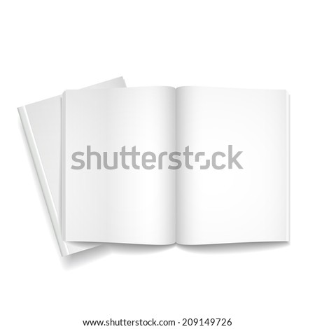 blank open books isolated over white background