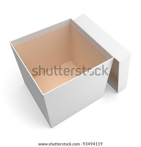 Blank open box isolated on white background - stock photo
