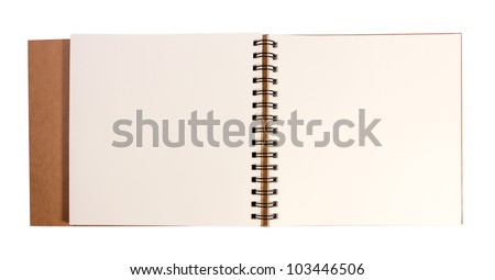 Blank open drawing book isolated on white background with clipping path.