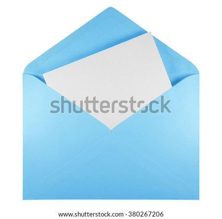 Blank open light blue envelope isolated on white background with clipping path - stock photo
