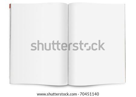 Blank open magazine - stock photo