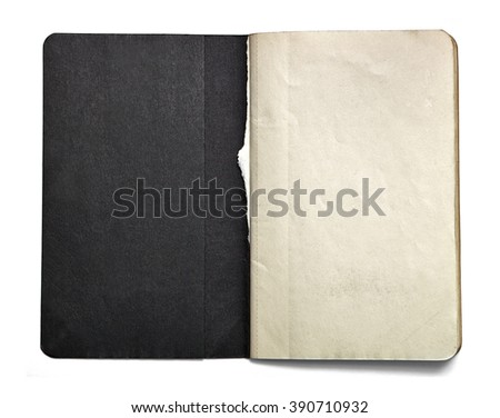 Blank open note book with black title page isolated on white background. Front view. Paper texture. Clipping path. Mock up. - stock photo
