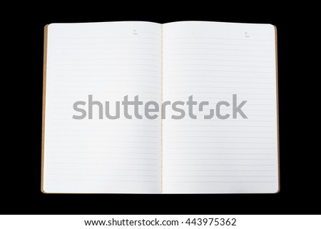Blank open notebook isolated on black background - stock photo