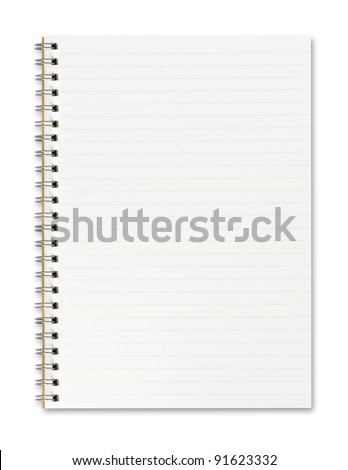 Blank open notebook with lined papers - stock photo