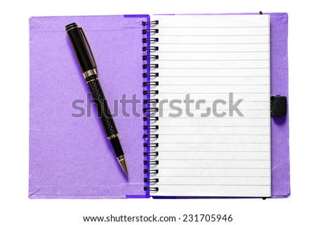 Blank open notebook with pen isolated on white  - stock photo
