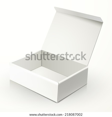 blank open paper box isolated on white - stock photo