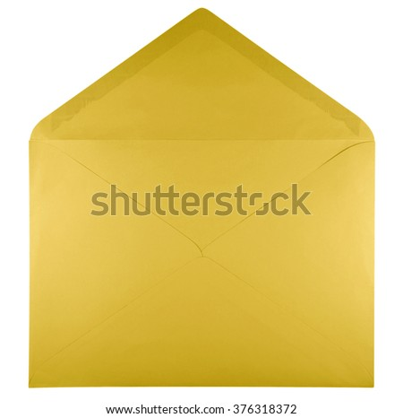 Blank open yellow envelope isolated on white background with clipping path - stock photo