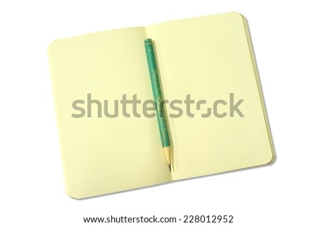 blank open yellow notebook with green pencil isolated on white - stock photo