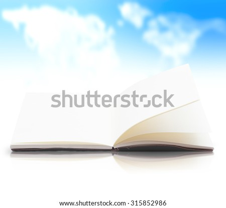 Blank opened book, diary, photo album on white table over blurred world map of clouds background.