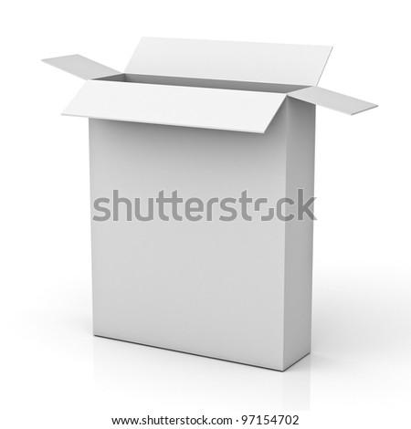 Blank opened box isolated on white background with reflection - stock photo