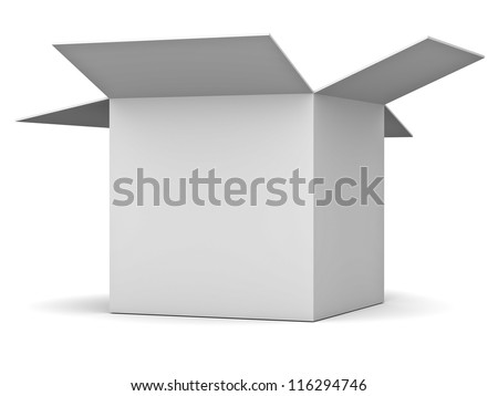 Blank opened cardboard box isolated over white background - stock photo