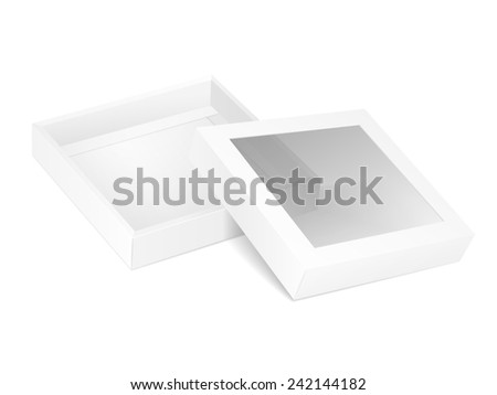 blank opened cardboard box with transparent window isolated on white background - stock photo