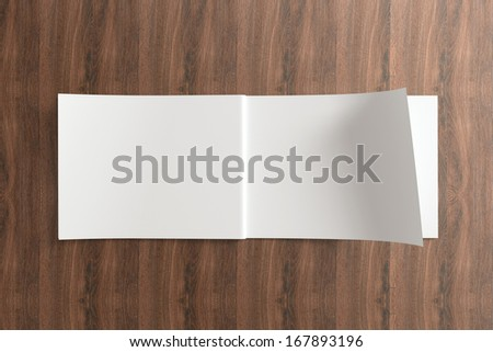 Blank Opened Catalog on the wooden Background for your design - stock photo