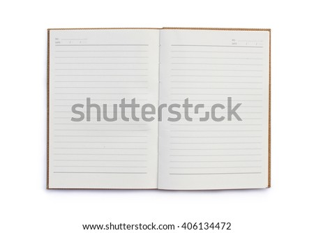 Blank opened copybook template isolated on white background