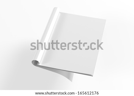 Blank opened full turn Magazine isolated on white with soft shadows - stock photo
