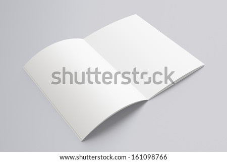 Blank opened Magazine isolated on grey - stock photo