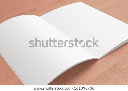 Blank opened Magazine on the wooden Background for your design - stock photo