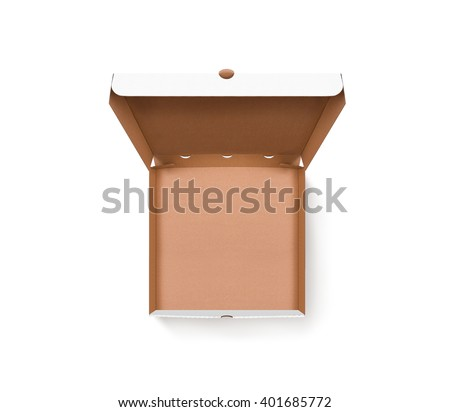 Blank opened pizza box design mock up top view isolated. Carton packaging empty pizza box delivery clear mockup. Cardboard pizza box template. Open food brown box presentation. Pizzeria branding box. - stock photo