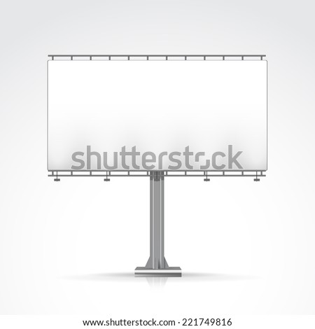 Blank Outdoor Billboard with Place for Message and with Lighting Isolated on Background