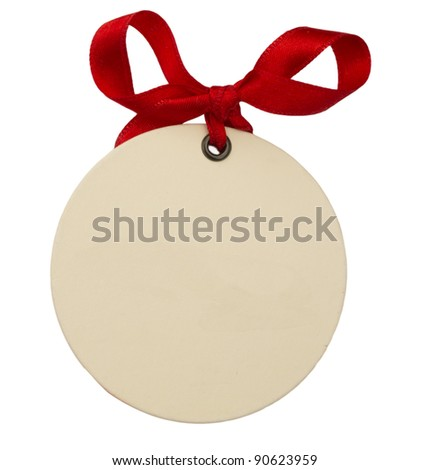 blank oval note with red ribbon - stock photo