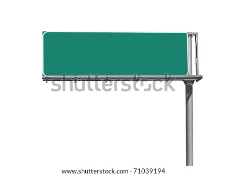 Blank overhead freeway directional sign background. - stock photo