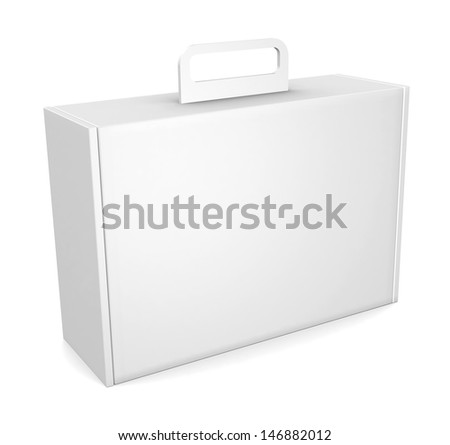 Blank package box with handle - isolated on white - stock photo