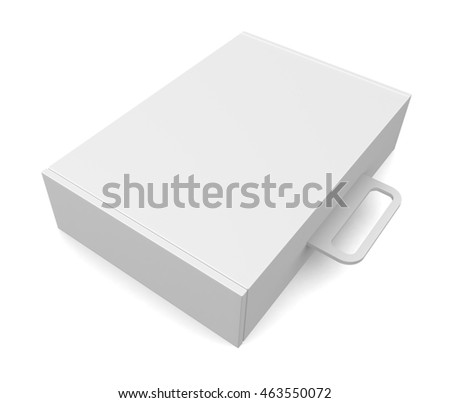 Blank package box with handle - isolated on white. 3d render
