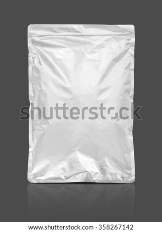 blank packaging aluminium foil pouch isolated on gray background with clipping path