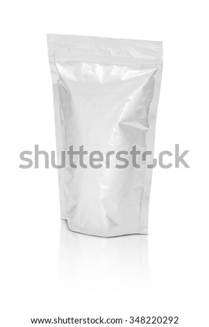 blank packaging aluminium foil pouch isolated on white background