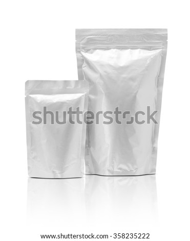blank packaging aluminium foil pouch isolated on white background with clipping path