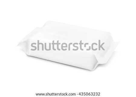 blank packaging paper wipes pouch isolated on white background with clipping path - stock photo
