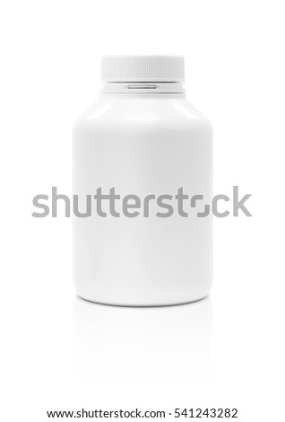 blank packaging supplement product plastic bottle isolated on white background with clipping path