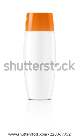 blank packaging white cosmetic tube isolated on white background - stock photo