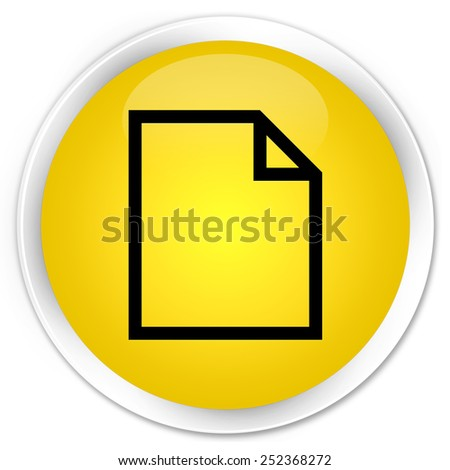 Blank page icon yellow glossy round button - stock photo