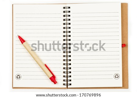 Blank page of note book and pen - stock photo
